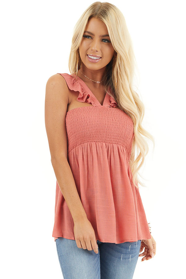 Coral Sleeveless Woven Babydoll Top with Smocked Bust front close up