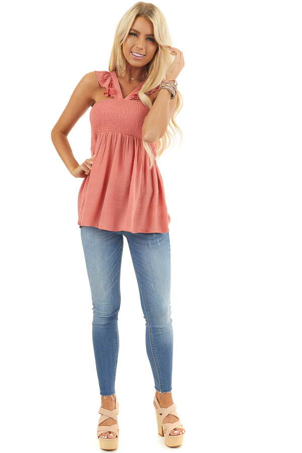 Coral Sleeveless Woven Babydoll Top with Smocked Bust front full body