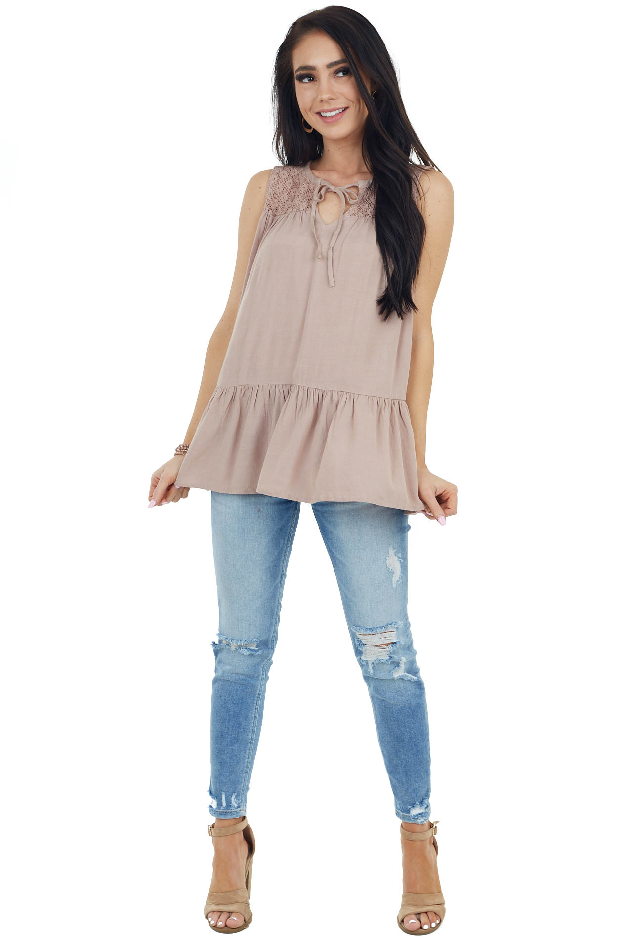 Latte Brown Peplum Tank Top with Crochet Lace Details
