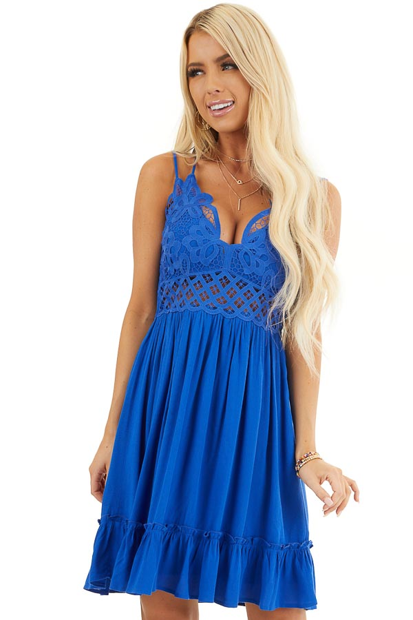 Cobalt Double Spaghetti Strap Dress with Lace Bust Detail front close up