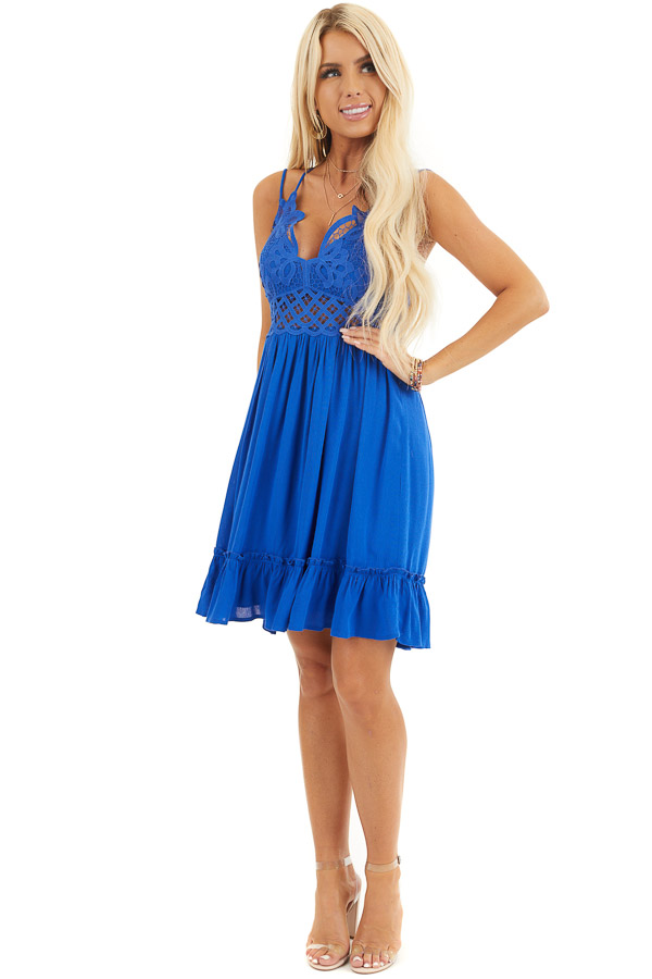 Cobalt Double Spaghetti Strap Dress with Lace Bust Detail front full body