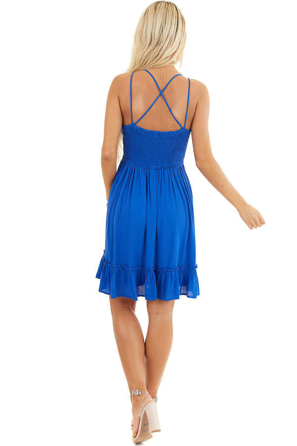 Cobalt Double Spaghetti Strap Dress with Lace Bust Detail back full body