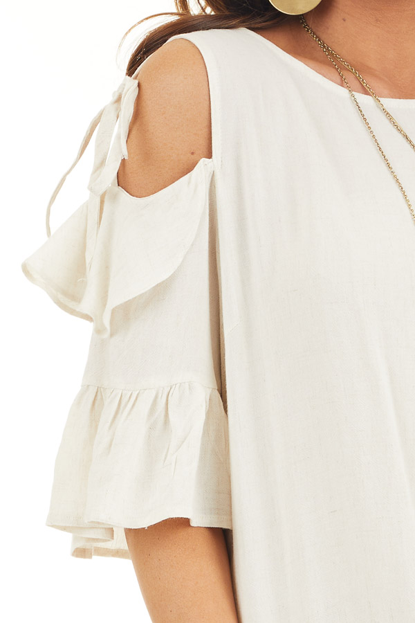 Off White Cold Shoulder Woven Top with 3/4 Sleeves and Ties detail