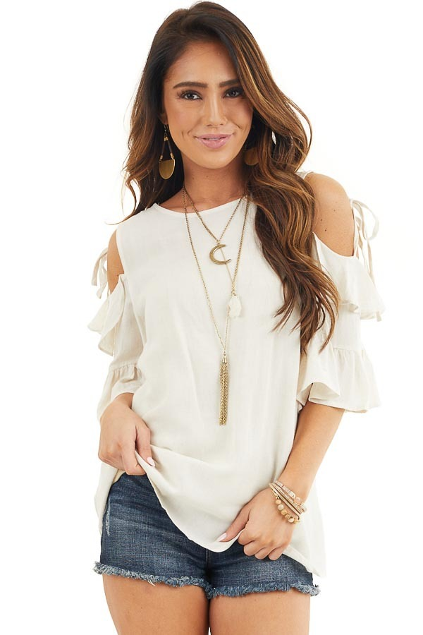 Off White Cold Shoulder Woven Top with 3/4 Sleeves and Ties front close up