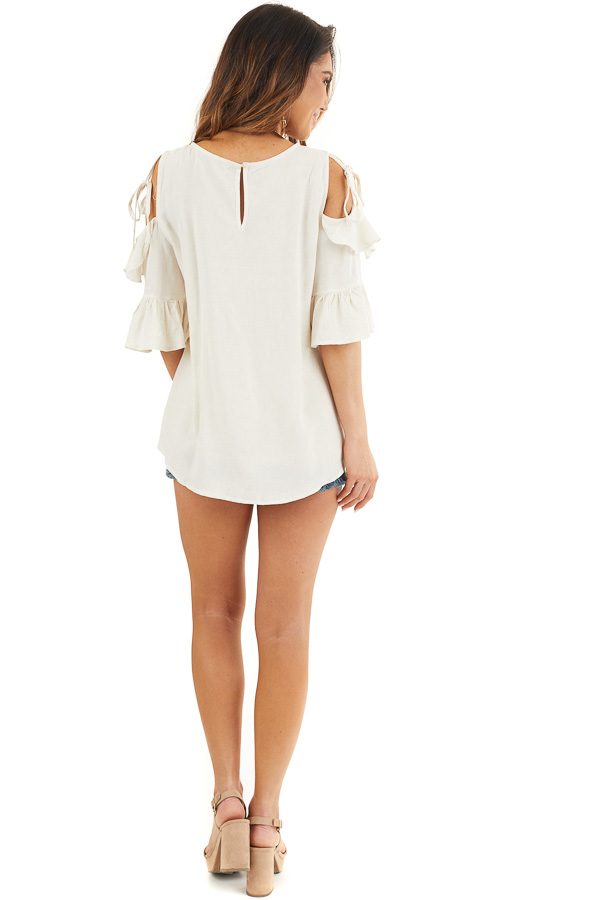 Off White Cold Shoulder Woven Top with 3/4 Sleeves and Ties back full body