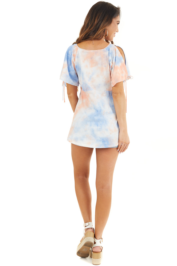 Dusty Blue and Coral Tie Dye V Neck Top with Cold Shoulders back full body
