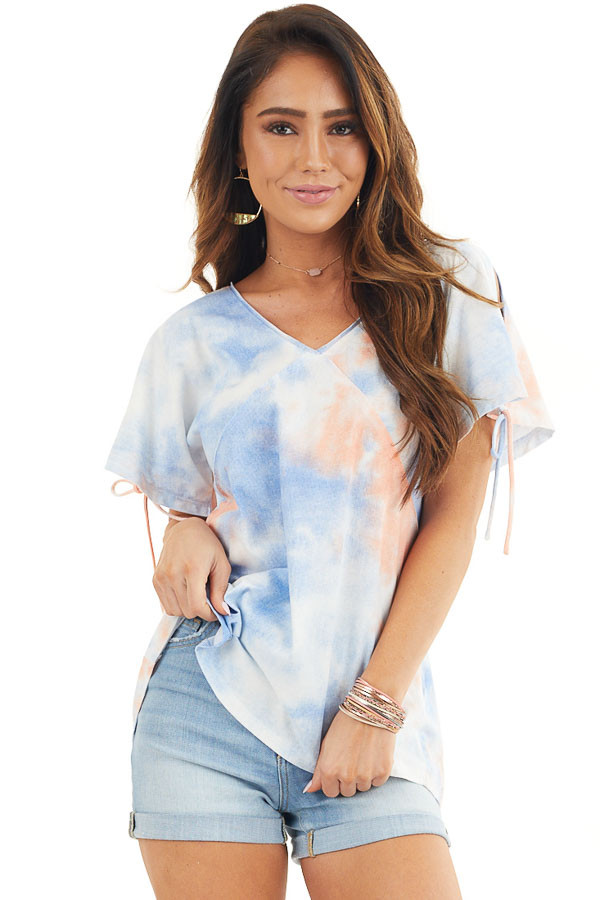 Dusty Blue and Coral Tie Dye V Neck Top with Cold Shoulders front close up