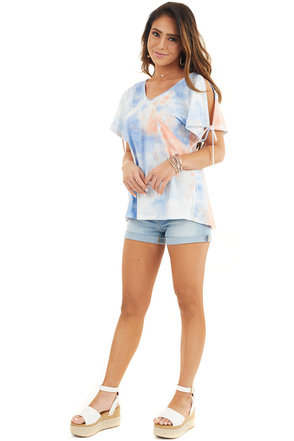 Dusty Blue and Coral Tie Dye V Neck Top with Cold Shoulders front full body