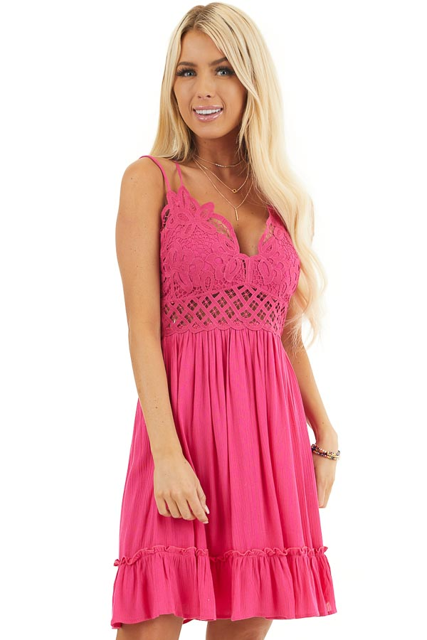 Fuchsia Double Spaghetti Strap Dress with Lace Bust Detail front close up