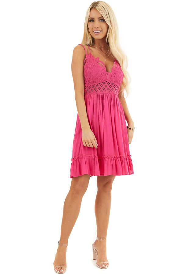 Fuchsia Double Spaghetti Strap Dress with Lace Bust Detail front full body