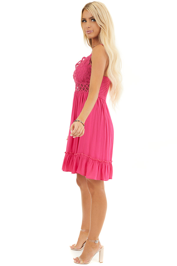 Fuchsia Double Spaghetti Strap Dress with Lace Bust Detail side full body