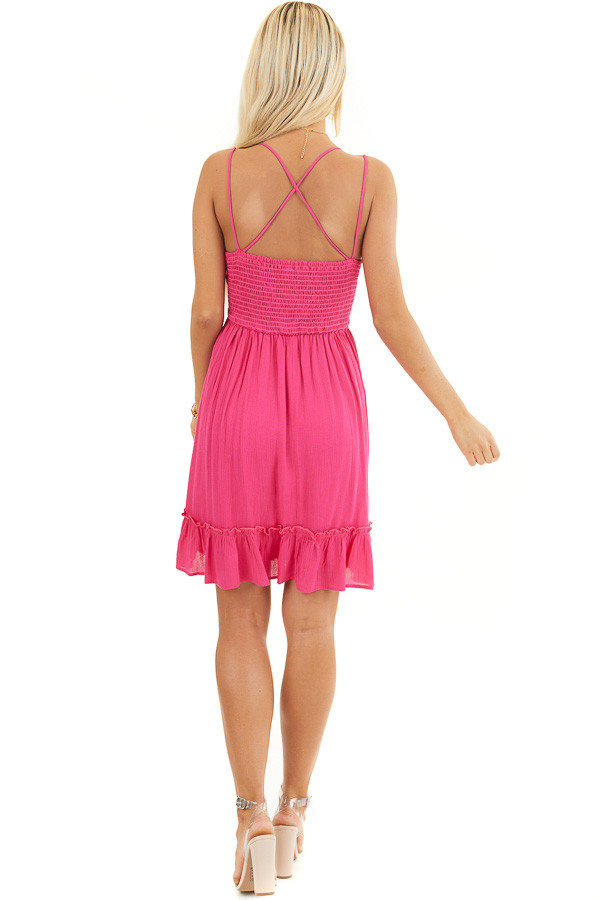 Fuchsia Double Spaghetti Strap Dress with Lace Bust Detail back full body