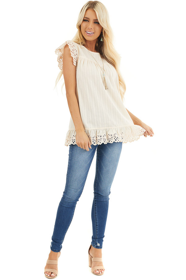 Cream Short Sleeve Eyelet Embroidery Top with Keyhole Back front full body