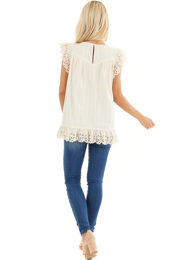 Cream Short Sleeve Eyelet Embroidery Top with Keyhole Back back full body