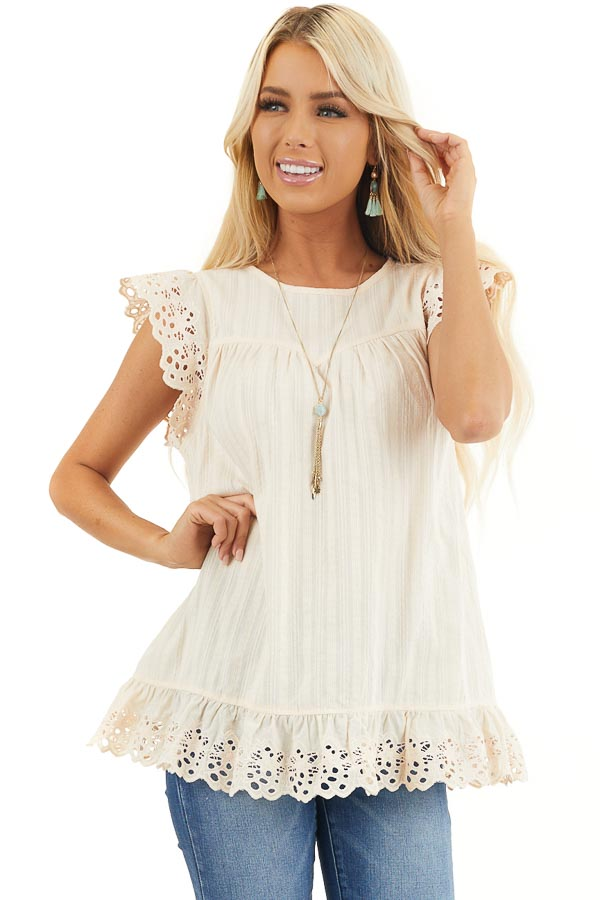 Cream Short Sleeve Eyelet Embroidery Top with Keyhole Back front close up