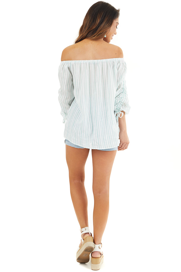 Off White and Jungle Green Striped Off the Shoulder Top back full body