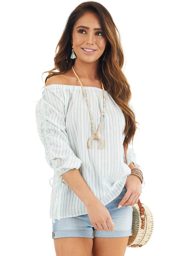 Off White and Jungle Green Striped Off the Shoulder Top front close up