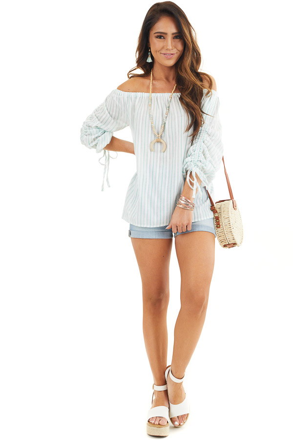 Off White and Jungle Green Striped Off the Shoulder Top front full body