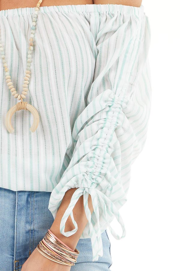 Off White and Jungle Green Striped Off the Shoulder Top detail