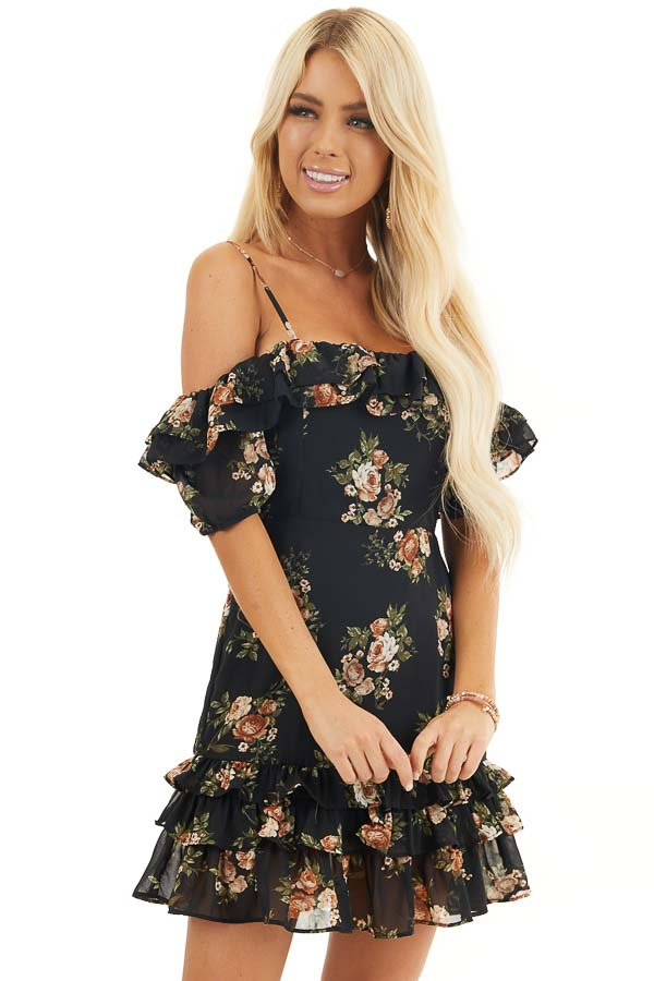 Black Floral Cold Shoulder Mini Dress with Ruffle Trim front close up