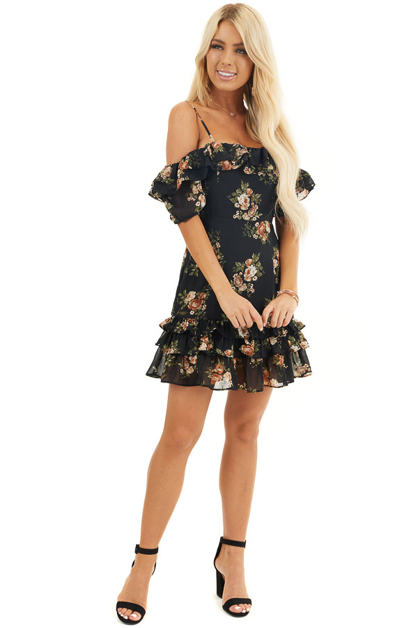 Black Floral Cold Shoulder Mini Dress with Ruffle Trim front full body