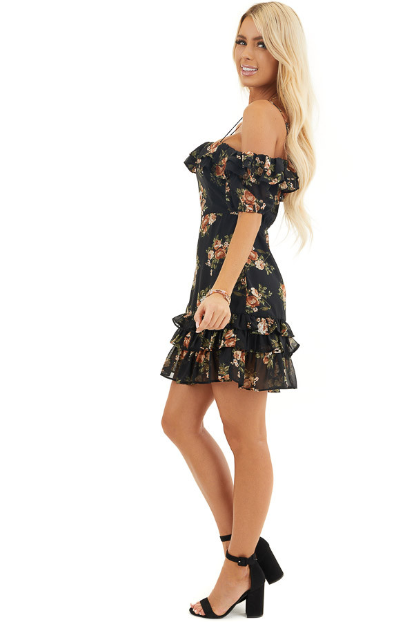 Black Floral Cold Shoulder Mini Dress with Ruffle Trim side full body