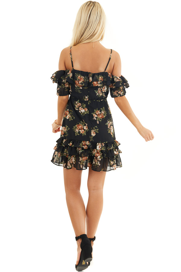Black Floral Cold Shoulder Mini Dress with Ruffle Trim back full body