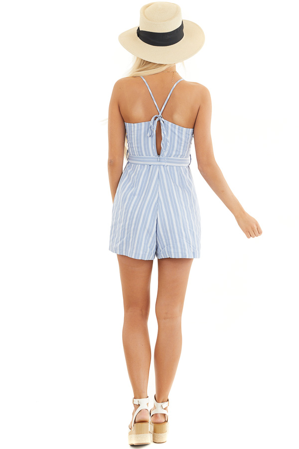Sky Blue and Ivory Striped Spaghetti Strap Romper with Tie back full body