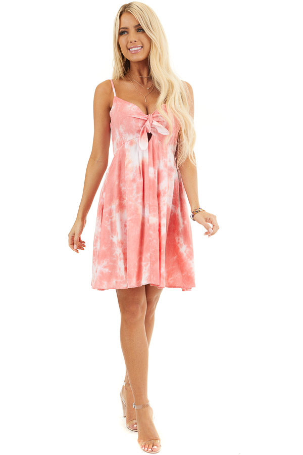 Pink and White Tie Dye Sleeveless Dress with Front Tie front full body
