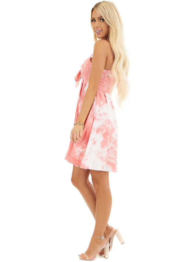 Pink and White Tie Dye Sleeveless Dress with Front Tie side full body