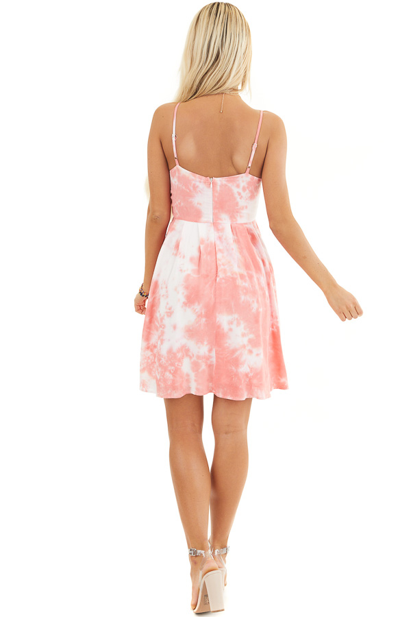 Pink and White Tie Dye Sleeveless Dress with Front Tie back full body