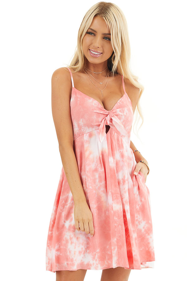 Pink and White Tie Dye Sleeveless Dress with Front Tie front close up