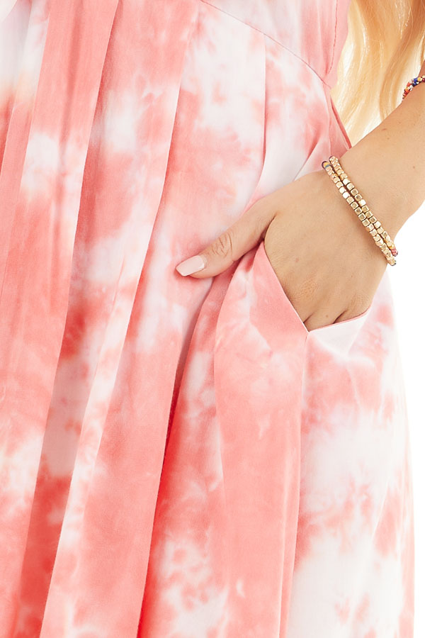 Pink and White Tie Dye Sleeveless Dress with Front Tie detail