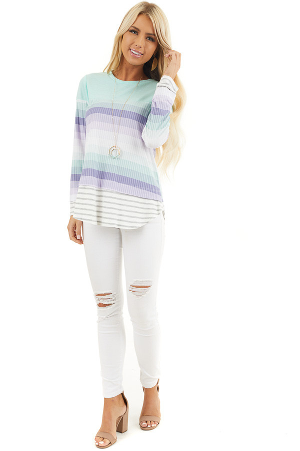 Mint and Lilac Striped Colorblock Long Sleeve Top front full body