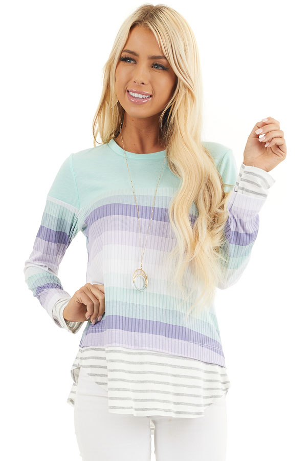 Mint and Lilac Striped Colorblock Long Sleeve Top front close up