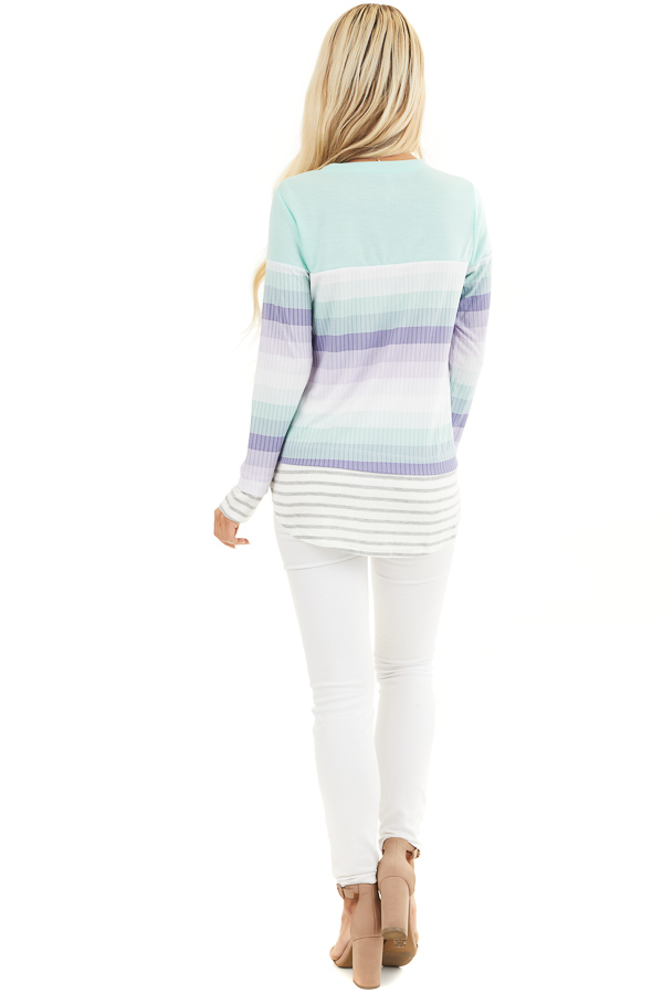Mint and Lilac Striped Colorblock Long Sleeve Top back full body