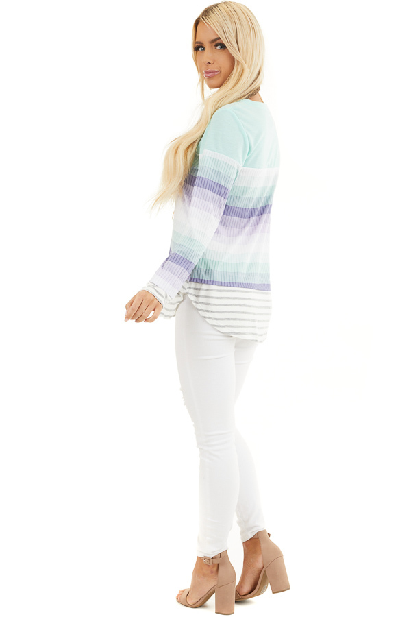 Mint and Lilac Striped Colorblock Long Sleeve Top isde full body