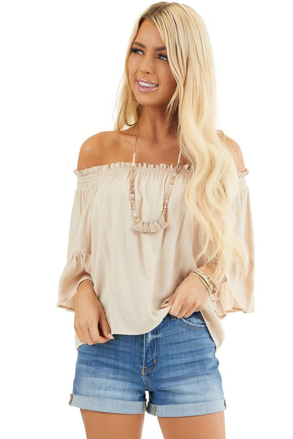 Beige Off the Shoulder Top with 3/4 Length Sleeves front close up