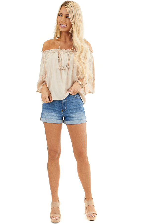 Beige Off the Shoulder Top with 3/4 Length Sleeves front full body