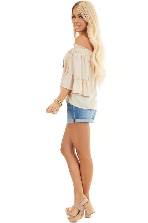 Beige Off the Shoulder Top with 3/4 Length Sleeves side full body