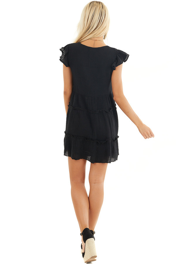 Black Short Sleeve Tiered Dress with V Neckline and Ruffles back full body