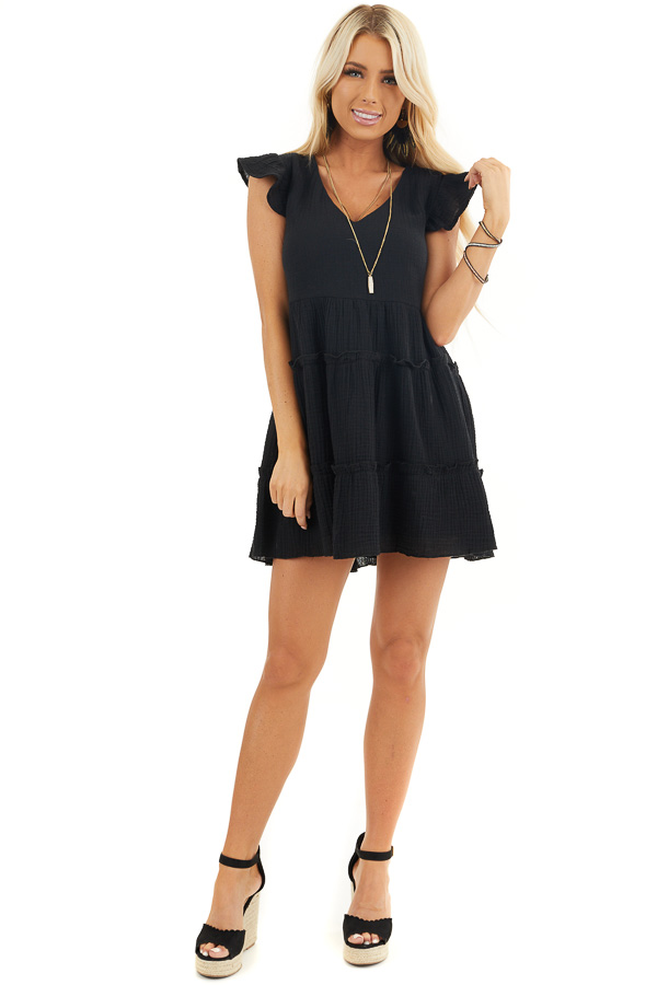 Black Short Sleeve Tiered Dress with V Neckline and Ruffles front full body