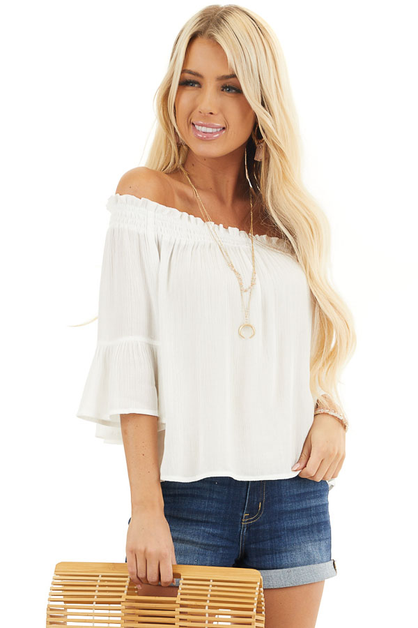 White Off the Shoulder Top with 3/4 Length Sleeves front close up