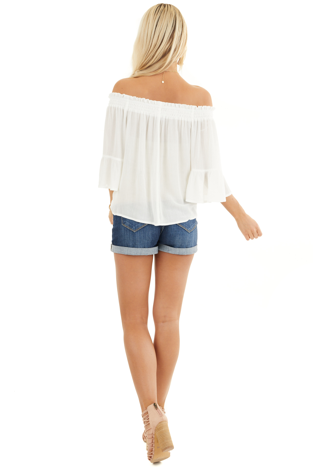 White Off the Shoulder Top with 3/4 Length Sleeves back full body