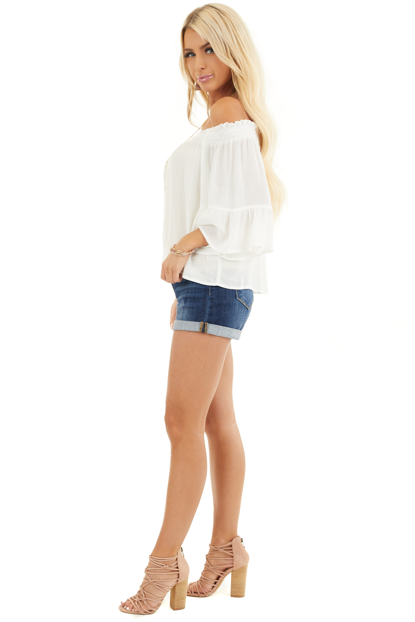 White Off the Shoulder Top with 3/4 Length Sleeves side full body