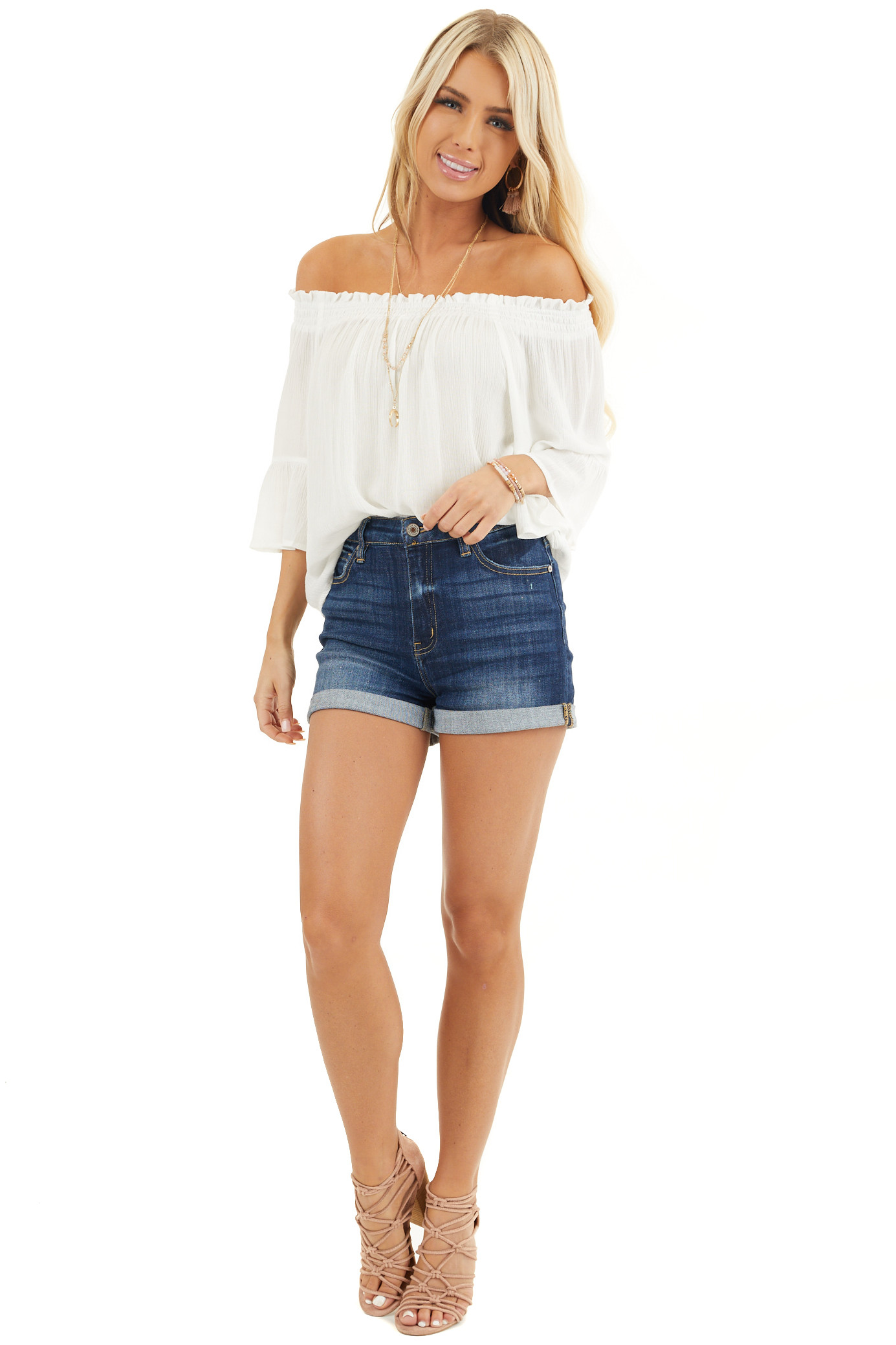 White Off the Shoulder Top with 3/4 Length Sleeves front full body