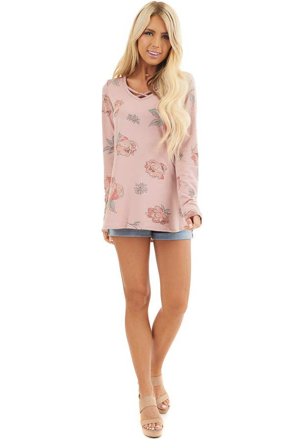 Dusty Rose Floral Long Sleeve Top with Criss Cross Detail front full body
