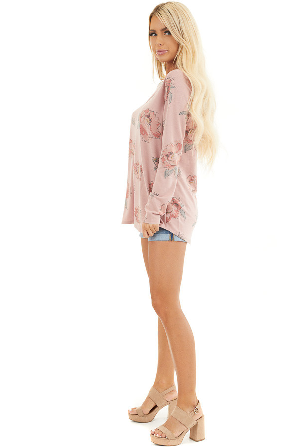 Dusty Rose Floral Long Sleeve Top with Criss Cross Detail side full body