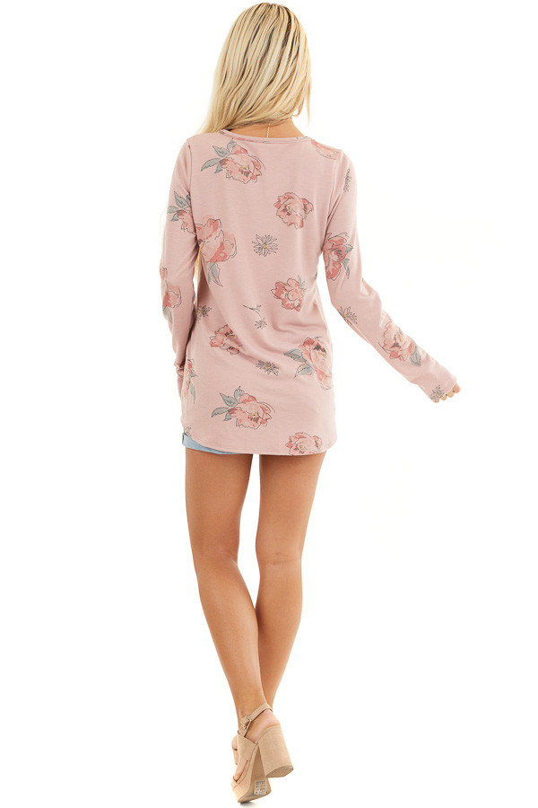 Dusty Rose Floral Long Sleeve Top with Criss Cross Detail back full body