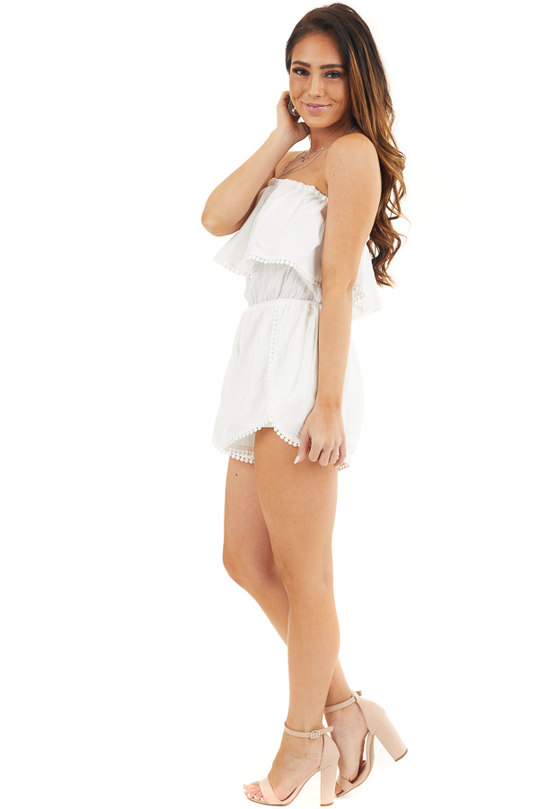 White Strapless Woven Romper with Circle Lace Trim side full body